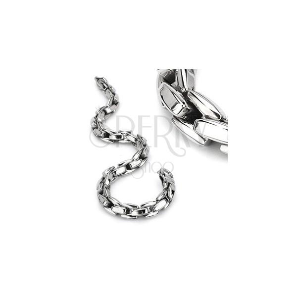 Bransoletka ze stali 316L srebrnego koloru, lśniący łańcuszek z kanciastych ogniw