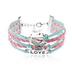 Bransoletka ze sznurków, niebieski i różowy kolor, motyl, blaszka z napisem