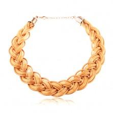 Naszyjnik z zaplecionych łańcuszków i sznurków w złotym odcieniu, karabińczyk