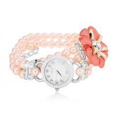 Zegarek na rękę, cyferblat z cyrkoniami, różowa bransoletka z koralików, kwiat