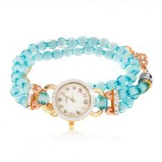 Zegarek z bransoletką z przejrzystych niebieskich koralików, cyferblat z cyrkoniami