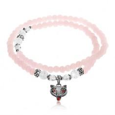 Elastyczna bransoletka, lśniące różowe i bezbarwne kuleczki, stalowe koraliki, lis