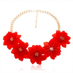 Masywny naszyjnik, łańcuszek złotego koloru, duże czerwone kwiaty, karabińczyk
