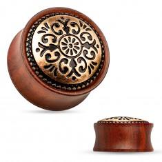Siodłowy plug do ucha z drewna mahoniowego koloru, powycinane koło