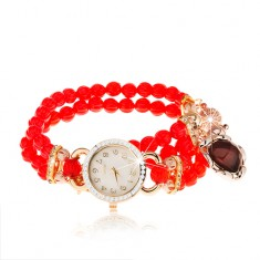 Zegarek na rękę, bransoletka z czerwonych koralików, serduszko, cyferblat z cyrkoniami