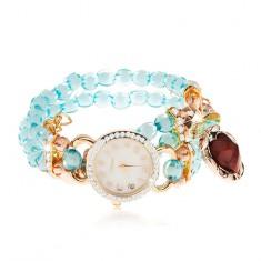 Zegarek z przejrzystych niebieskich koralików, cyferblat z cyrkoniami, czerwone serce