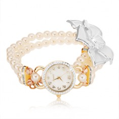 Zegarek z bransoletką z białych koralików, cyferblat z cyrkoniami, biały kwiat