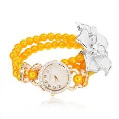 Zegarek z bransoletką z żółtych koralików, biały kwiat, cyferblat z cyrkoniami
