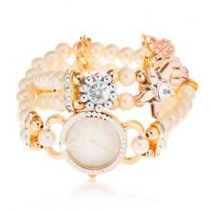 Zegarek analogowy, cyferblat z cyrkoniami, bransoletka z białych koralików, kwiaty