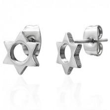 Stalowe kolczyki srebrnego koloru - sześcioramienna gwiazdeczka z okrągłym wycięciem