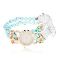 Zegarek z bransoletką z niebieskich koralików, cyferblat z cyrkoniami, biały kwiat