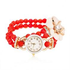 Zegarek na rękę z czerwonymi koralikami, cyferblat z cyrkoniami, biały kwiat z cyrkonią