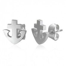 Kolczyki ze stali 316L - kotwica i krzyż, srebrny kolor, wkręty