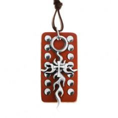 Skórzany naszyjnik, regulowany - brązowa wybijana tabliczka, krzyż Tribal