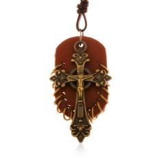 Skórzany naszyjnik, zawieszki - brązowy owal z małymi krążkami i celtycki krzyż