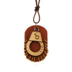 Skórzany naszyjnik - regulowany, kajdanka z numerem, brązowa część z krążkami