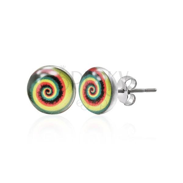 Kolorowe kolczyki ze stali - spirala