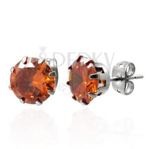 Kolczyki ze stali z pomarańczową cyrkonią 7 mm
