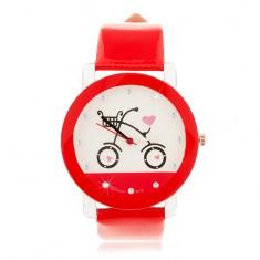 Czerwono-biały zegarek na rękę, duży cyferblat z obrazkiem roweru