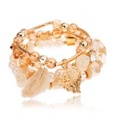 Multibransoletka - koraliki złotego, jasnobrązowego i perłowo białego koloru, zawieszki