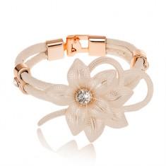 Biała bransoletka, duży kwiat z cyrkonią, zarys serca, paski sztucznej skóry