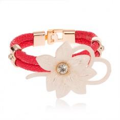 Bransoletka - duży biały kwiat z cyrkonią, zarys serca, różowe pasy sztucznej skóry