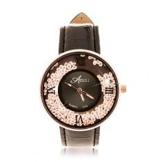 Zegarek analogowy - pasek czarnego koloru, błyszczące bezbarwne cyrkonie