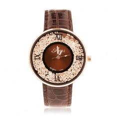 Zegarek na rękę - lśniący ciemnobrązowy pasek, okrągłe bezbarwne cyrkonie