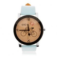 Zegarek na rękę, duży cyferblat z obrazkiem roweru, jasnoniebieski pasek