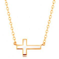 Naszyjnik z żółtego złota 585 - biały emaliowany krzyżyk, lśniący łańcuszek