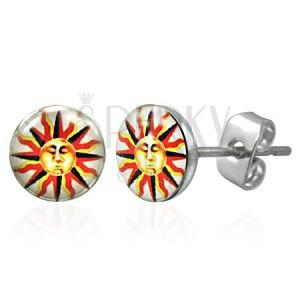 Kolczyki ze stali - emblemat słońca