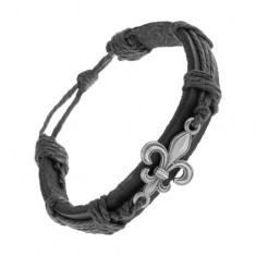 Skórzana bransoletka czarnego koloru, patynowany stalowy symbol Fleur de Lis