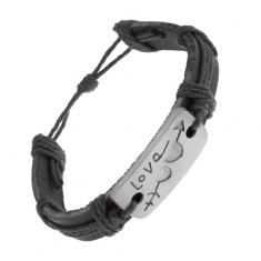 Skórzana bransoletka czarnego koloru ze sznurków, prostokąt z wyrytymi serduszkami, Love