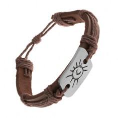 Ciemnobrązowa bransoletka z syntetycznej skóry i sznurków, stalowa blaszka, słońce i księżyc