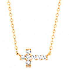 Naszyjnik z żółtego 14K złota - błyszczący cyrkoniowy krzyżyk, lśniący łańcuszek