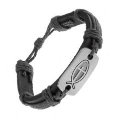 Czarna bransoletka z syntetycznej skóry i sznurków, lśniąca płytka - rybka z krzyżem