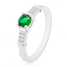 Zaręczynowy pierścionek, srebro 925, cyrkoniowe ramiona, okrągła zielona cyrkonia