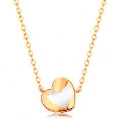 Złoty naszyjnik 585 - lśniące serduszko z białą emalią, łańcuszek