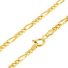 Złota bransoletka 585 - trzy owalne ogniwa, dłuższe spłaszczone oczko, 200 mm