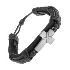 Skórzana bransoletka czarnego koloru, patynowany krzyż ze skrzyżowanymi paskami