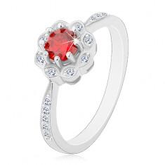 Srebrny rodowany pierścionek 925, błyszczący kwiatek z czerwono-różową cyrkonią