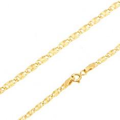 Bransoletka w żółtym 14K złocie - płaskie podłużne ogniwa, promieniste rysy, 185 mm