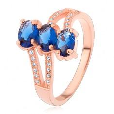 Srebrny 925 pierścionek w miedzianym odcieniu, ciemnoniebieskie oszlifowane owale, faliste ramiona