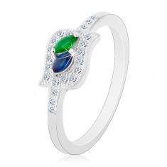 Srebrny pierścionek 925, niebieskie i zielone ziarenko w bezbarwnym konturze, rodowany
