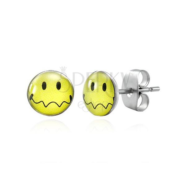 Kolczyki ze stali - żółty uśmiech z falistymi ustami, wkręty