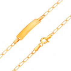 Złota 585 bransoletka z płytką - lśniące płaskie owalne ogniwa, 175 mm