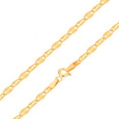 Bransoletka z żółtego 14K złota, gładkie i promieniste ogniwo, 185 mm