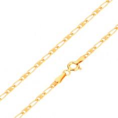 Łańcuszek z żółtego 14K złota - owalne ogniwa - z kratką i puste, 440 mm