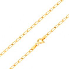 Bransoletka z żółtego 14K złota - lśniące płaskie owalne ogniwa, 190 mm