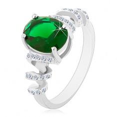 Zaręczynowy rodowany pierścionek, srebro 925, owalna zielona cyrkonia, błyszczące spirale